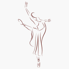 graphic design editable for your design, hand drawn beautiful dancing ballerina  isolated on white background. vector illustration.
