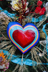 Christmas tree decorated with hand painted heart
