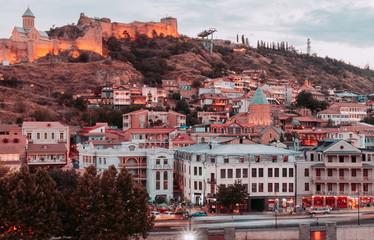 Wall Mural - Beautiful view of Tbilisi in evening. Georgia