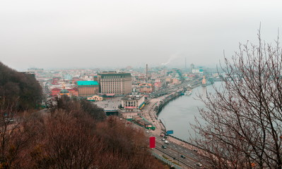 Fotomurales - View On Kiev on cloudy day. Kiev. Ukraine