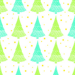 Colorful seamless pattern with Christmas trees and stars
