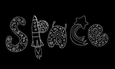 Art design decorative word space, doodle sketch style