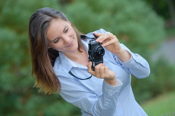 taking photos in a park