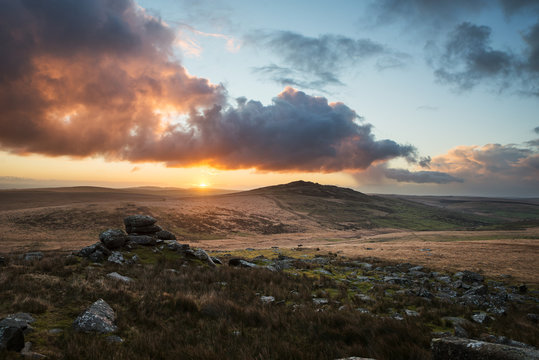 bodmin moor in cornwall, with brown willy and showery tor at sunrise and beautiful cloudy sky
