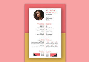 Resume Layout with Pink and Yellow Accents