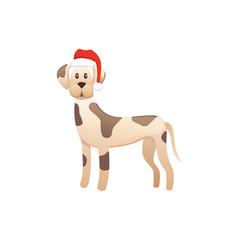 cute dog in red santas hat. Christmas puppy winter cartoon illustration.