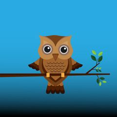 Brown owl on a branch