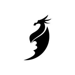 Black dragon silhouette vector illustration