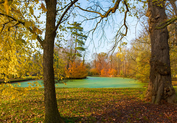 Golden autumn in old park. Kromeriz, Czech Republic