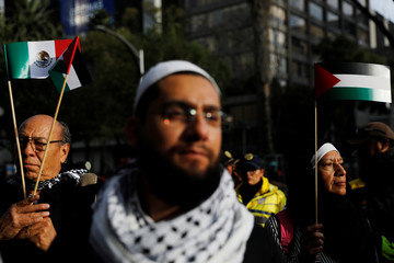 Members of the Islam community and supporters of Palestine hold a demonstration against U.S. President Donald Trump's recognition of Jerusalem as Israel's capital, in Mexico City