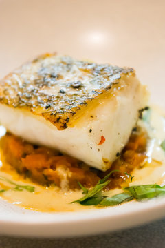 pan fried sea bass with tomato rice