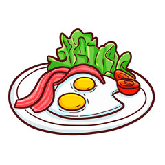 Funny and yummy meat with two fried eggs on a plate - vector.