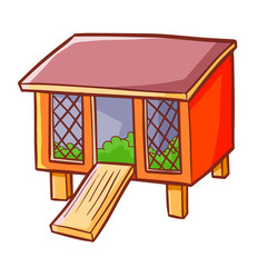 Funny and cute red rabbit hutch in cartoon style - vector.