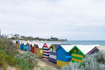 colourful beach houses at Brighton Beach