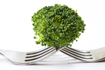Broccoli floret on two forks