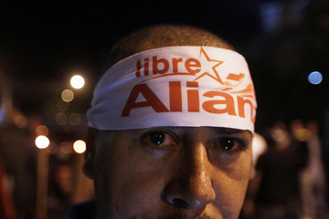 A supporter of Salvador Nasralla is pictured during a demonstration over a disputed presidential election in Tegucigalpa
