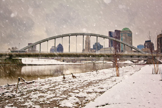 Winter in Columbus, Ohio with the Main Street Bridge in the foreground