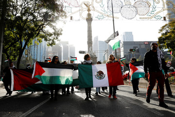 Members of the Islamic community and supporters of Palestine hold a demonstration against U.S. President Donald Trump's recognition of Jerusalem as Israel's capital, in Mexico City,