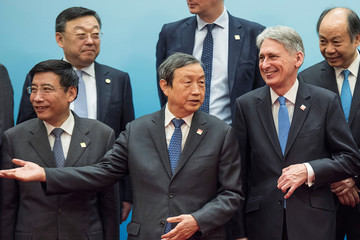 Britain's Chancellor of the Exchequer Philip Hammond and Chinese Vice Premier Ma Kai attend the UK-China Economic Financial Dialogue at the Diaoyutai State Guesthouse in Beijing