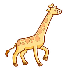 Cute and funny giraffe standing and smiling happily - vector.