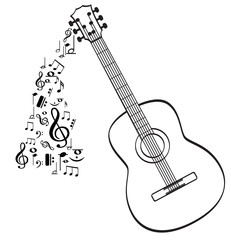 Guitar musical instrument vector in black outline with music symbols