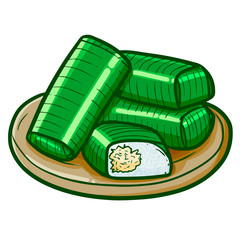 """Funny and yummy Indonesian snack named """"Lemper"""", a cooked rice with chicken inside, wrapped with banana leaves - vector."""