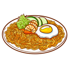 """Seafood fried noodle, or """"Pie Goreng Seafood"""" in Bahasa Indonesia. A cultural noodle food from Asia with additional seafood ingredients - vector."""