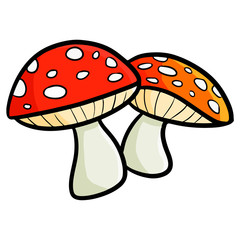 Funny and cute red mushroom - vector.