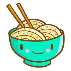 Funny and cute noodle in blu green bowl smiling happily - vector.