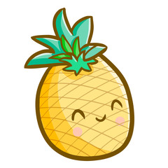 Funny and cute pineapple smiling happily - vector.