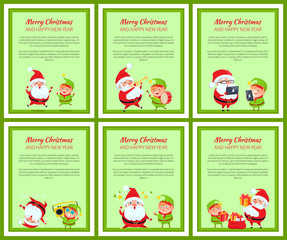 Six Merry Christmas and Happy New Year Posters