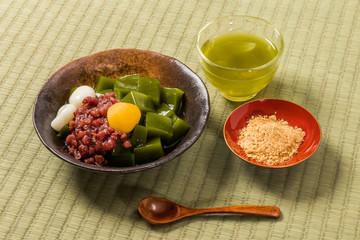 抹茶ゼリー 和風スイーツ Green tea agar jelly Japanese sweet