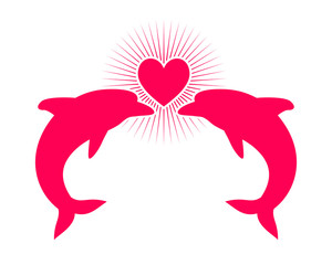 love heart dolphin fish nautical marine life image animal
