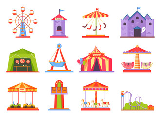 Park of Attractions Collection Vector Illustration