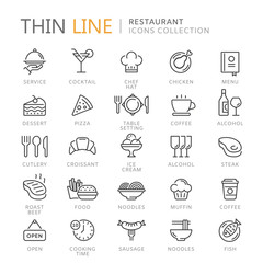 Foto op Canvas Restaurant Collection of restaurant thin line icons