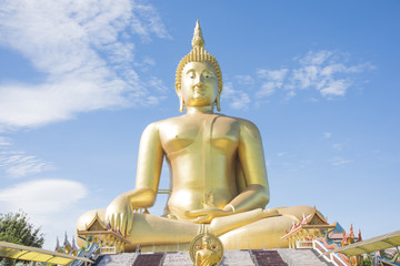 Golden Buddha statue at Wat Muang temple in Angthong, Thailand