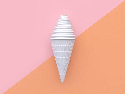 white ice cream pink orange background 3d rendering