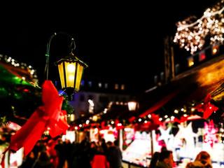 SAARBRUCKEN, GERMANY-DECEMBER 15, 2017: Beautiful decorated booths and christmas lights at Gendarmenmarkt Christmas Market.