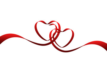 Red ribbons in the shape of two hearts for love concept, wedding or Valentine day. Vector illustration isolated on white background.