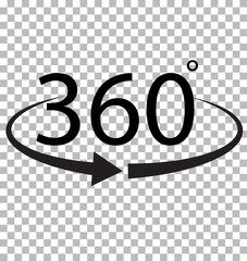 360 Degree icon on transparent background. 360 Degree sign. 360 symbol.