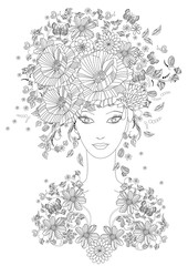 Fototapete - fabulous girl with summer flowers and butterflies for your color