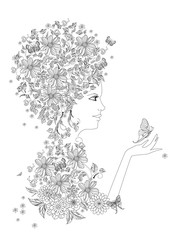Fototapete - fancy girl with butterflies for your coloring book
