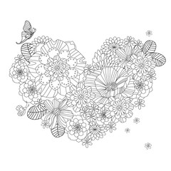 pretty flower heart for your coloring book