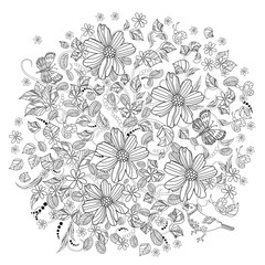 Round ornament with floral swirls and flowers for coloring book