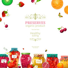 cozy card with canned fruits and berries in glass jars for your