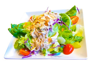 Mixed vegetable salad with tuna isolated on white background. Healthy food in Thailand. This has clipping path.