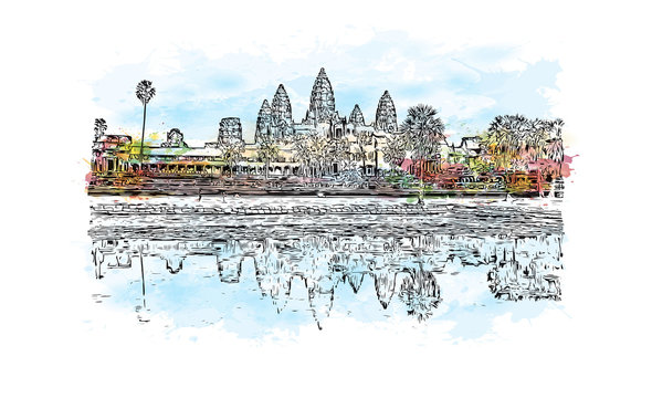 Angkor Wat Temple, Cambodia. Watercolor splash with hand drawn sketch illustration in vector