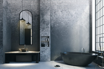 Abstract loft bathroom with empty copyspace