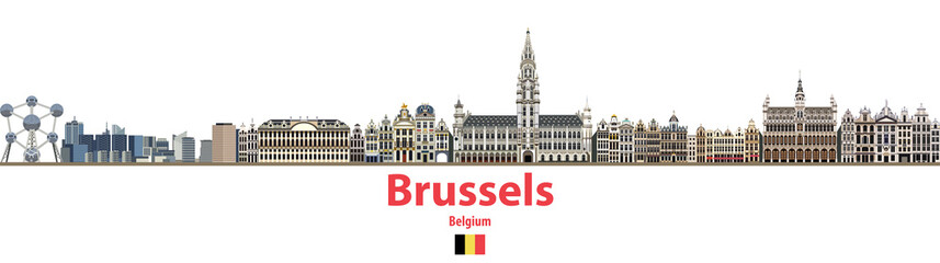 vector city skyline of Brussels. Flag of Belgium
