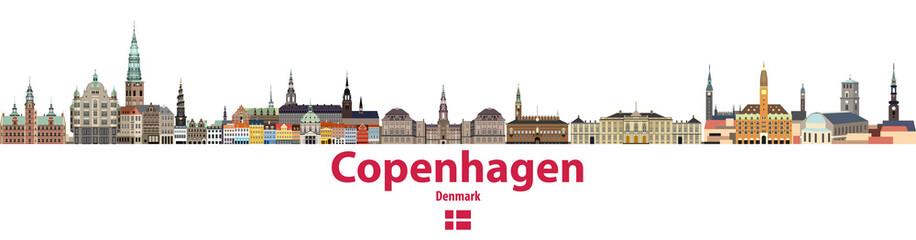 vector city skyline of Copenhagen. Flag of Denmark